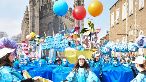 The grand parade: DIT students taking part in the St Patrick's Day festivities in Dublin