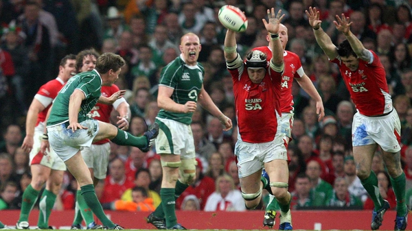 Ronan O'Gara executes his famous drop goal against Wales in 2009