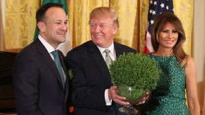 Leo Varadkar presented Donald Trump with a bowl of shamrock at the White House this evening