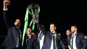 Johnny Sexton celebrates Ireland's Six Nations title in 2015