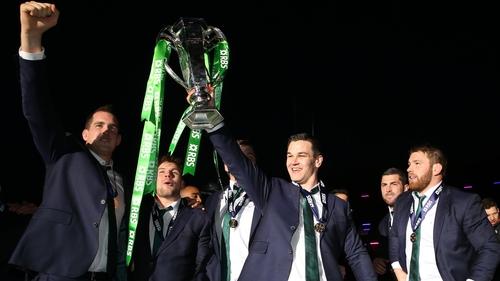 Johnny Sexton celebrates Ireland's Six Nations title in 2015