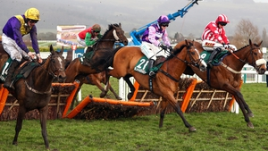 Whiskey Sour, Mohaayed and Remiluc clear the last in the County Hurdle