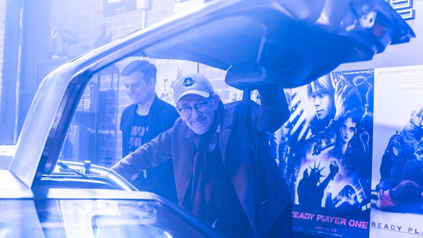 Steven Spielberg on the set of Ready Player One
