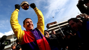 Richard Johnson celebrates with Cheltenham Gold Cup