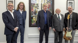 Pictured left to right: Managing Director, Fender Graeme Mathieson, Alec Galloway, Donal Gallagher, President Michael D Higgins and Dan Barry of Fender guitars