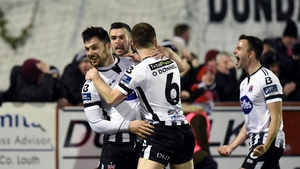 Dundalk players celebrate their late winner