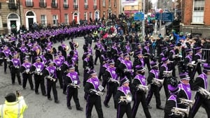 An image of the Dublin parade taken from the top of a bus