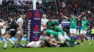 Irish players pile into CJ Stander to drive him to the post for Ireland's second try