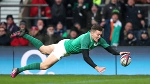 Jacob Stockdale touches down for a try against England at Twickenham