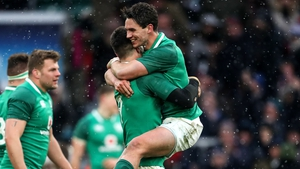 Joey Carbery celebrates at the final whistle