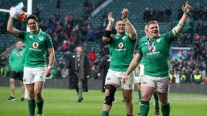 The Ireland player on their lap of honour at Twickenham