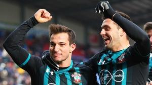 Cedric Soares of Southampton (L) celebrates with Dusan Tadic