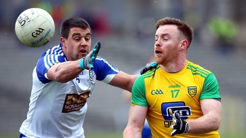 Monaghan's Drew Wylie and Donegal's Eamonn Doherty in action.
