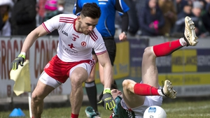 Mayo's Conor Loftus and Tyrone's Padraig Hampsey