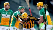 Offaly's Tom Spain and Pat Camon battle for possession with Kilkenny's Richie Leahy