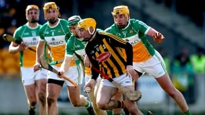 Richie Leahy is pursued by a host of defenders in Kilkenny's two-point win over Offaly in O'Connor Park