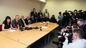 A number of the 'Hooded Men' at a press conference earlier this year