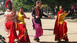 Michael Portillo joins a traditional dance troupe on tonight's first programme in Great Indian Railway Journeys