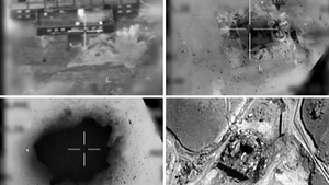 Images provided by the Israeli army show an aerial view of a suspected nuclear reactor during bombardment in 2007