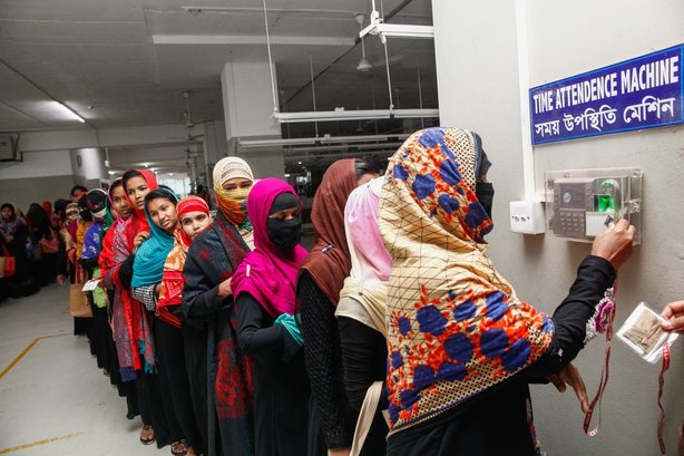 fa4e89778fdb3 Bangladeshi female workers clocking in for work at a garment factory for  work in Gazipur on the outskirts of Dhaka in February 2018.