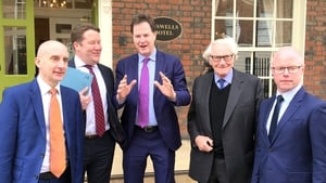 Andrew Adonis, Darragh O'Brien, Nick Clegg, Michael Heseltine and Stephen Donnelly pictured in Dublin