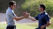 Rory McIlroy congratulates Peter Uihlein