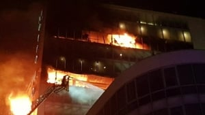 The blaze broke out at about 8pm last night in a private residence above the Metro Hotel in Ballymun