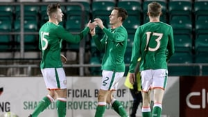 Ronan Hale, left, celebrates his goal with Ireland U21 team-mates