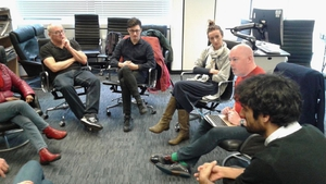 Author and Book Show guest host John Boyne (second from right) with students at UEA