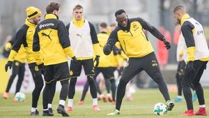 Usain Bolt in training with Borussia Dortmund