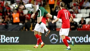 Shane Duffy wins a header