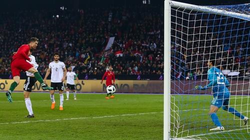 Cristiano Ronaldo heads home for Portugal