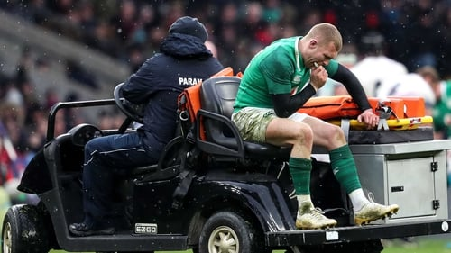 Keith Earls goes off injured after playing his part