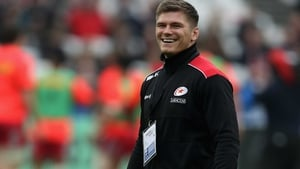 Owen Farrell looked to be in good spirits as he watched Saracens beat Harlequins