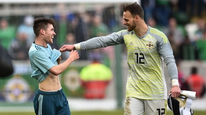 Trevor Carson (right) celebrates Northern Ireland's friendly win over South Korea with Paul Smyth
