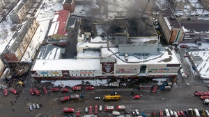 Fire destroyed parts of the  Winter Cherry shopping centre in Kemerovo