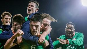 Declan Rice celebrates Sean Donnellan's goal late in the game