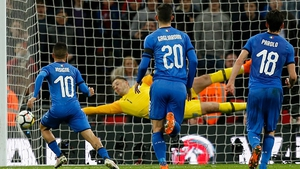 Lorenzo Insigne scores from the penalty spot for Italy