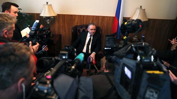 Russian Ambassador to Ireland, Yury Filatov, talks to reporters