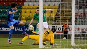 Shaun Donnellan scores a goal late in the game to seal victory for Ireland