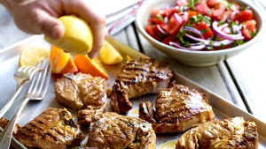 Lamb Steaks in a Citrus Marinade with Moroccan Style Tomato Salad