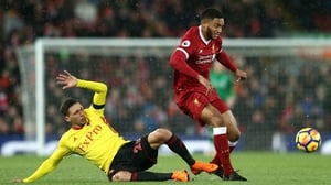Gomez in action for the Reds against Watford