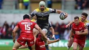 La Rochelle's French Kevin Gourdon is tackled during Good Friday's quarter-final