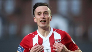Aaron McEneff celebrates scoring the opening goal for Derry City against St Pat's