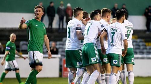 Cork City players celebrate Sean McLoughlin's goal