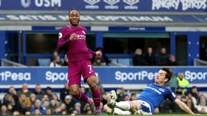 Raheem Sterling rattles home Manchester City's third goal at Everton