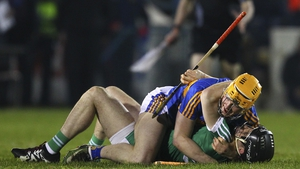 Tipperary's Donagh McGrath and Graeme Mulcahy of Limerick get acquainted during Saturday night's Allianz League semi-final