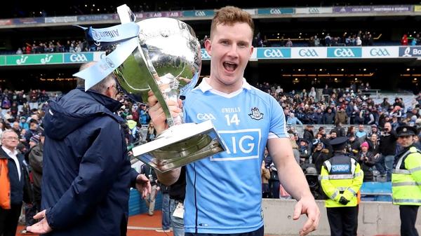 Ciarán Kilkenny celebrates with the trophy