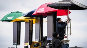 Bookies prepare their stalls ahead of the day's racing. Photo: RTÉ
