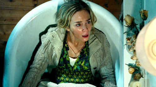 Emily Blunt holds in her scream in A Quiet Place